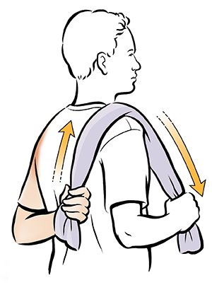 Man doing back scratcher shoulder exercise.