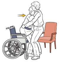 Healthcare provider using gait belt to help patient transfer from wheelchair to chair.